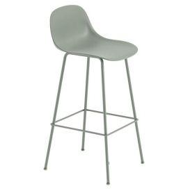 Muuto Fiber bar stoel W.Backrest/wood base- dusty green/dusty green -H.65cm