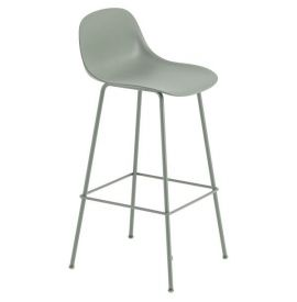 Muuto Fiber bar stoel W.Backrest/wood base- dusty green/dusty green -H.65cm