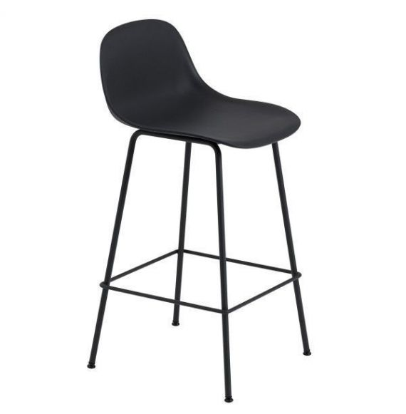 Muuto Fiber bar stoel W.Backrest/wood base- refine leather-black/black-H.65cm