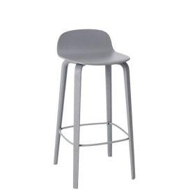 Muuto Fiber bar stoel W.Backrest/wood base- grey/grey -H.65cm