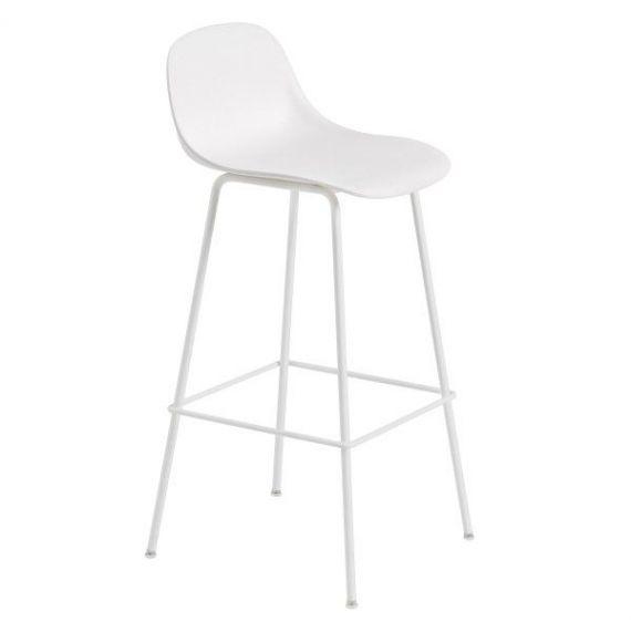 Muuto Fiber bar stoel W.Backrest/wood base- natural white/oak -H.65cm